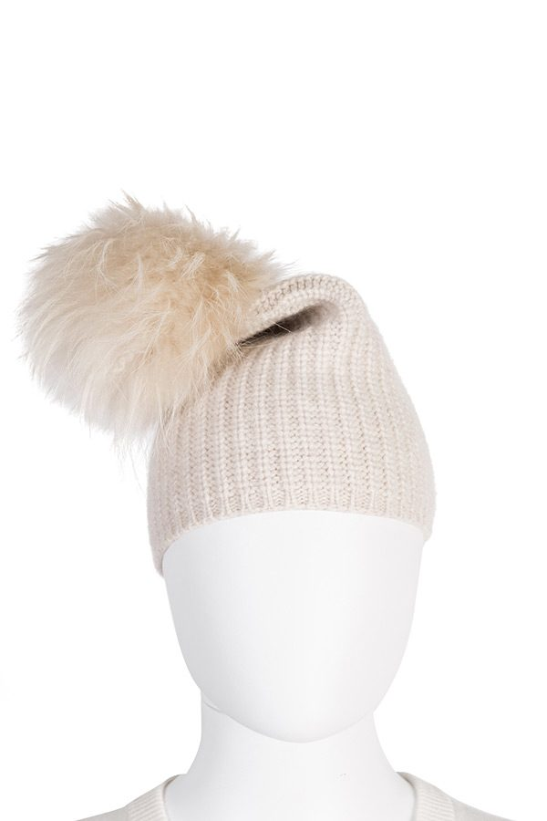 Bonnet with Fur Pompon