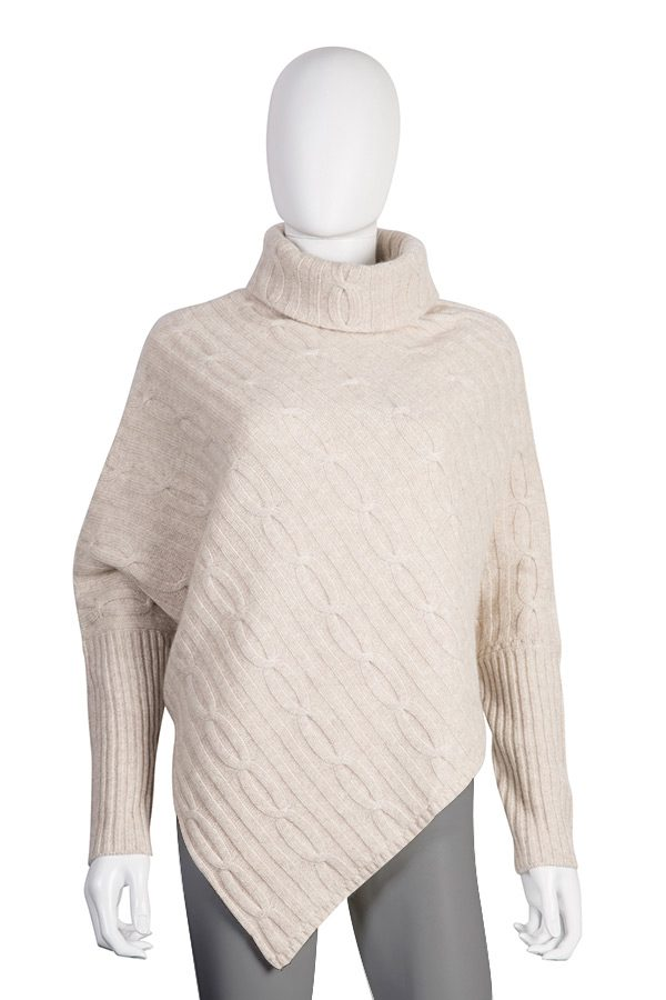 Cable-knit Poncho with Sleeves